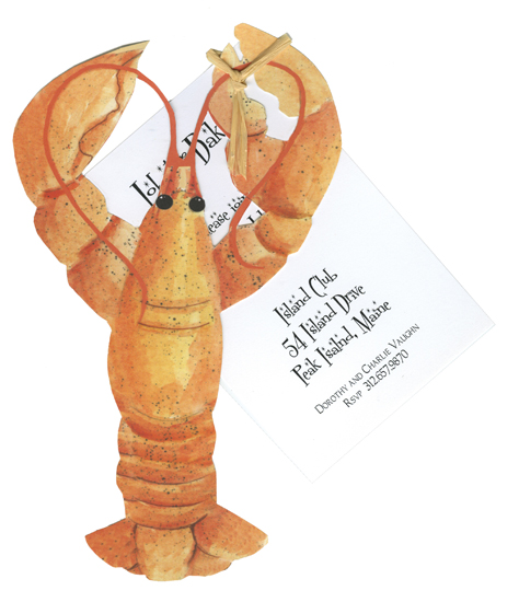 Die-Cut Red Lobster Invitations