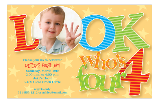 Look Who Is Four Photo 4th Birthday Invitations