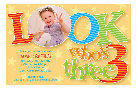 Look Who Is Three Photo Invitation