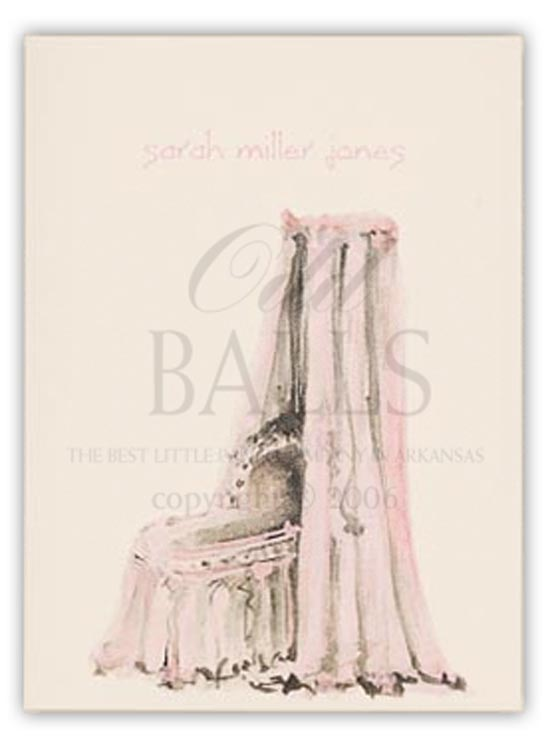 Bassinet Pink Folded Note Card