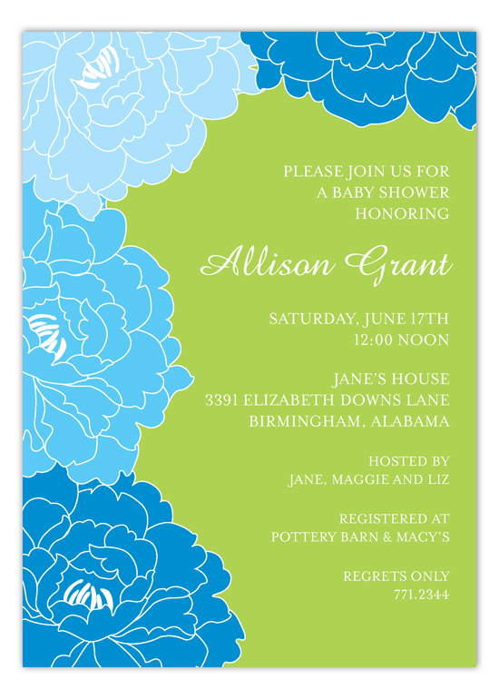 Lush Blue Floral Invitation