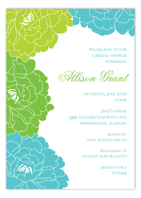 Lush Turquoise and Green Floral Invitation