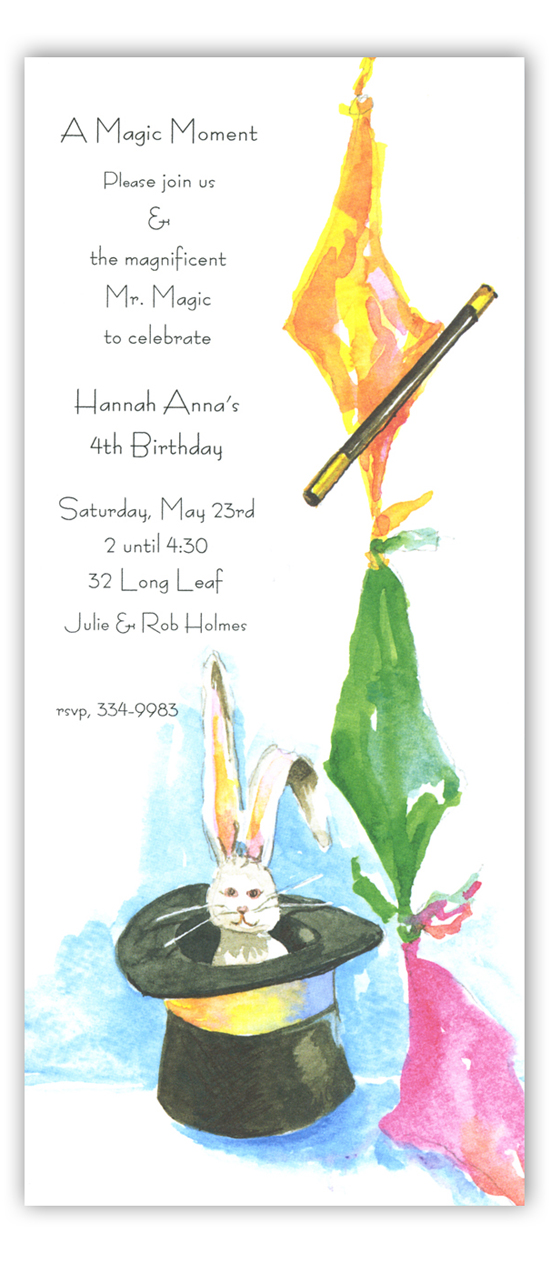 Rabbit in a Hat Magic Invitations