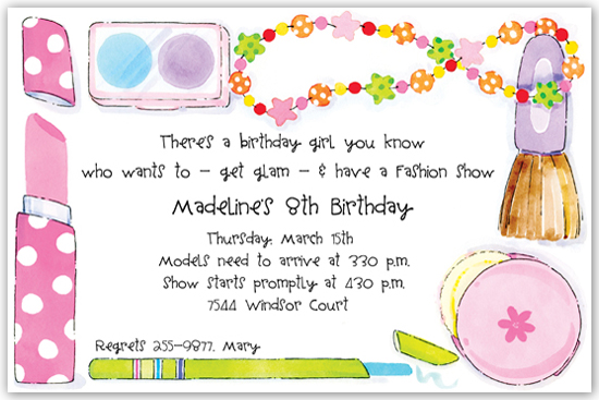 Makeup themed party invitations mugeek vidalondon party invitations children s beauty makeup invitation glamour makeup dress up stopboris