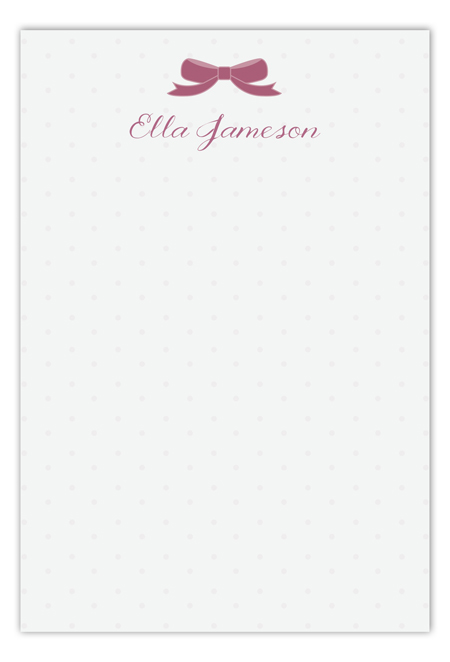 Mauve Bow Flat Note Card