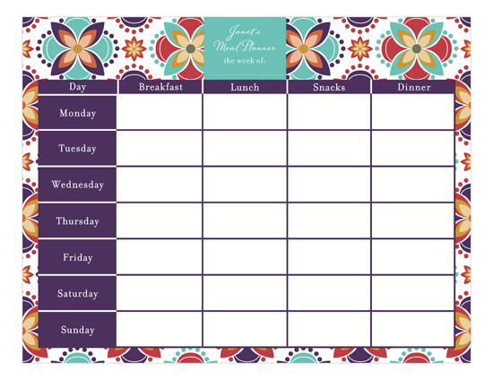 Meal Planner Calendar Pad  Polka Dot Invitations