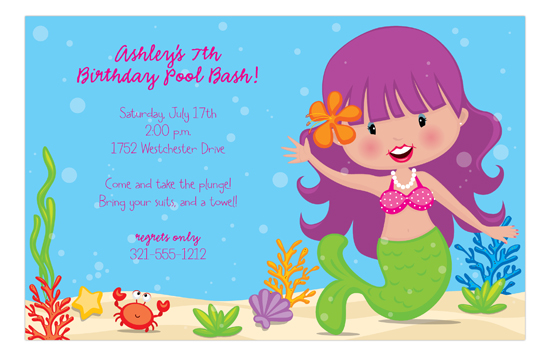 Purple Down Under Mermaid Birthday Invitation