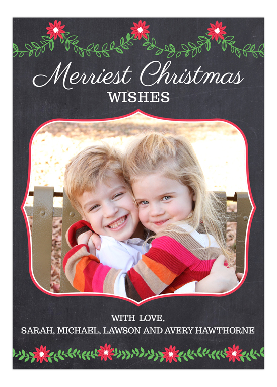 Merriest Christmas Wishes Chalkboard Photo Card