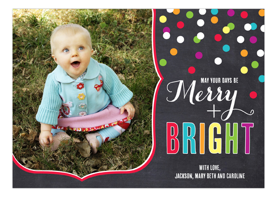 Merry and Bright Confetti Photo Card