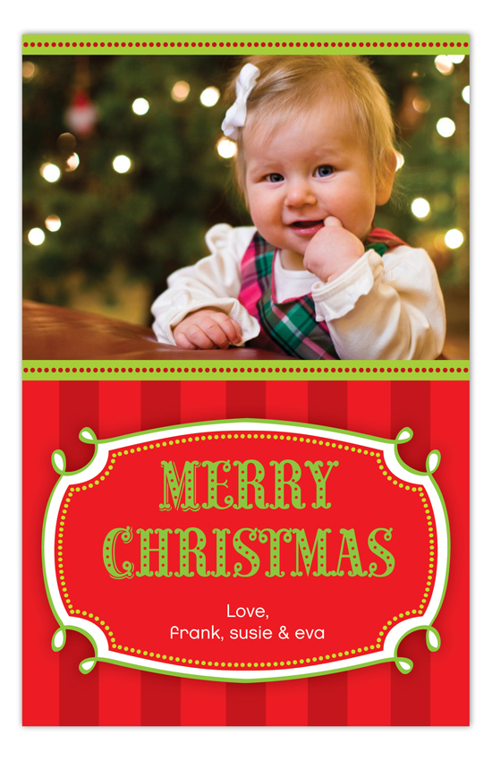 Merry and Bright Red Stripes Photo Card