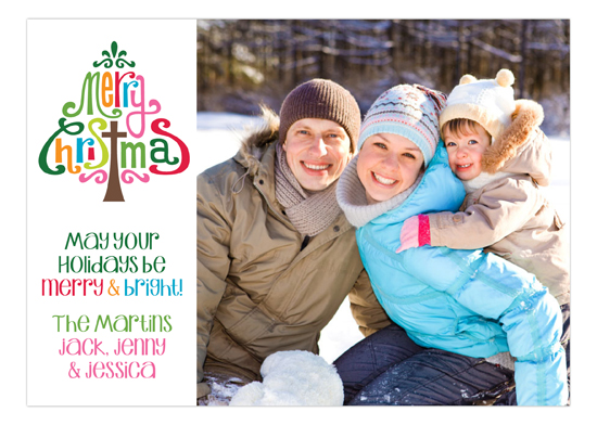 Merry Christmas Whimsy Tree Photo Card