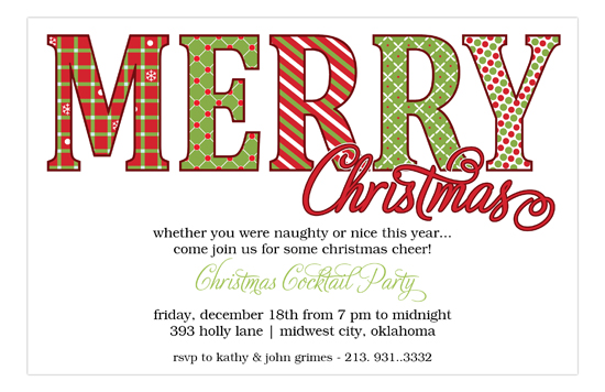 Merry Christmas Pattern Words Holiday Invitations – Words for Invitations