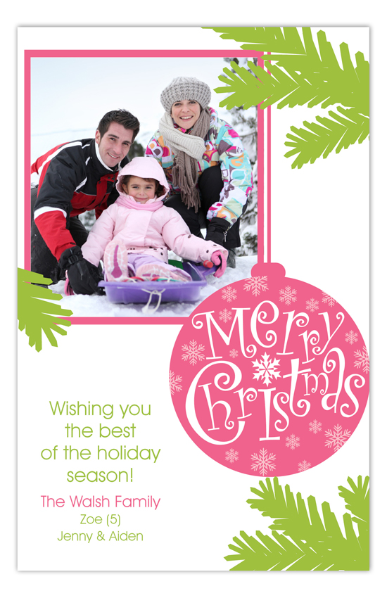 Merry Merry Pink Ornament Family Photo Cards