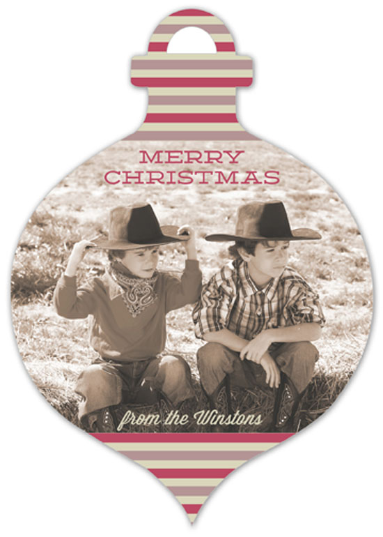 Merry Stripes Ornament Photo Card