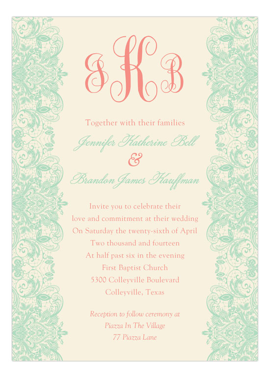 Mint And Coral Invitation