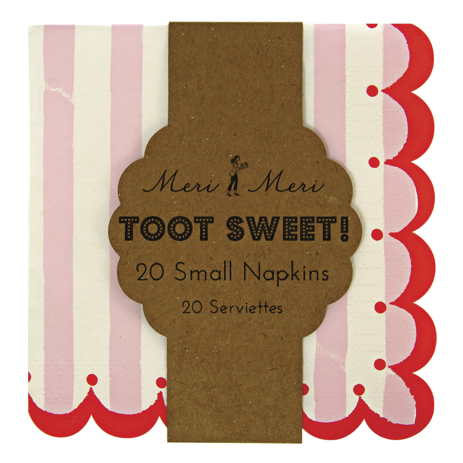 Toot Sweet Pink Stripe Small Napkin