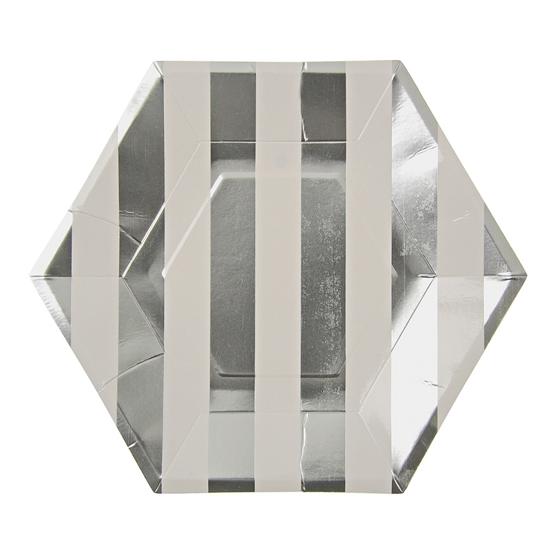 Toot Sweet Silver Hexagon Party Plates