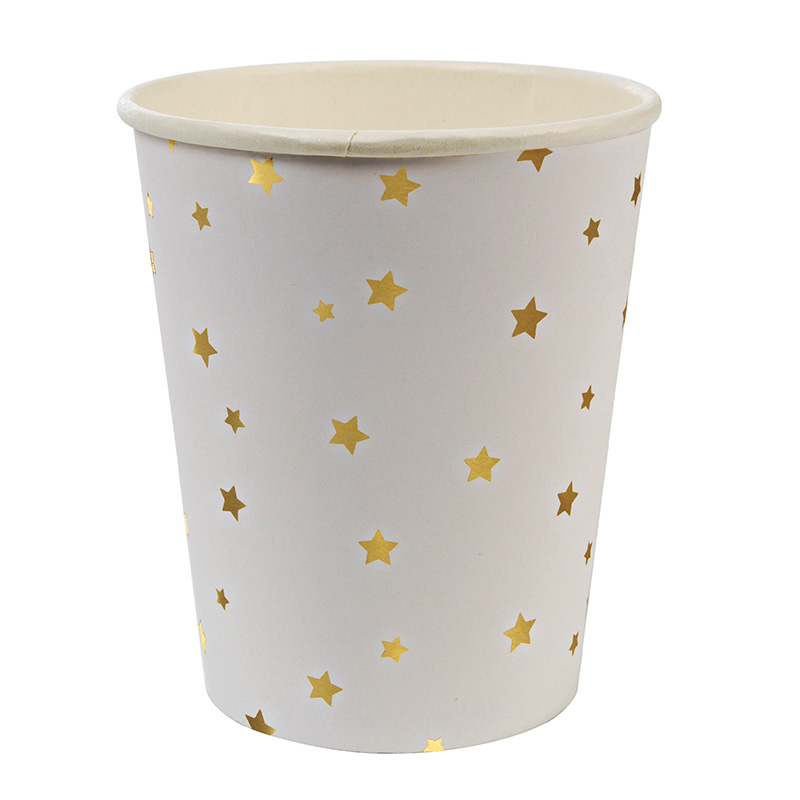 Toot Sweet Gold Star Pattern Party Cups