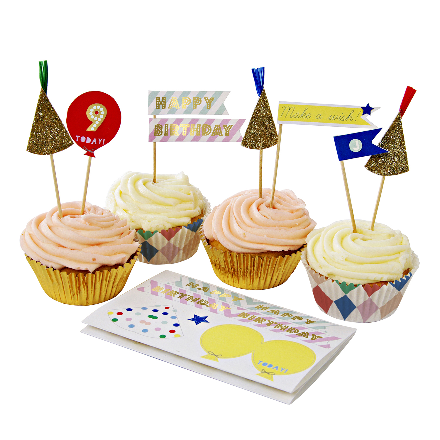 Patterned Birthday Sticker Cupcake Kit