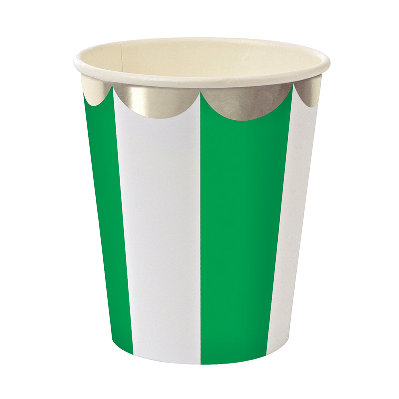 Green Stripe Foil Party Cups