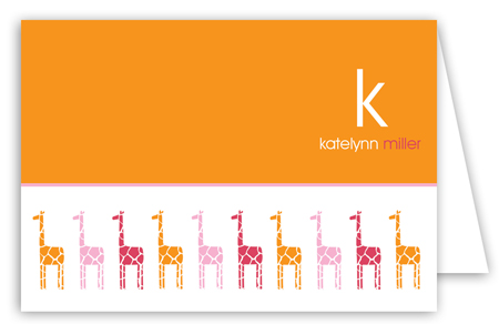 Orange Background Pink Mod Giraffe Girl Note Cards