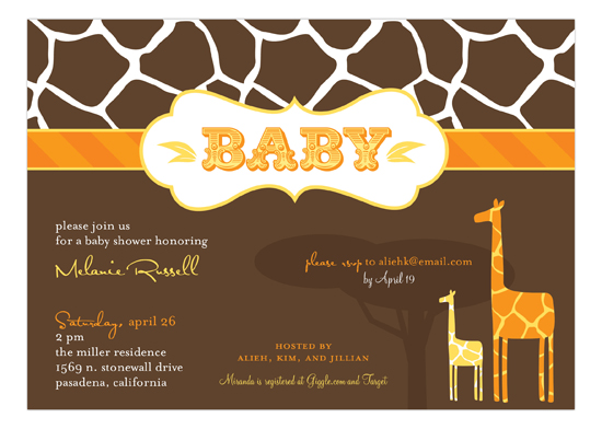 Mod Giraffe Neutral Invitation
