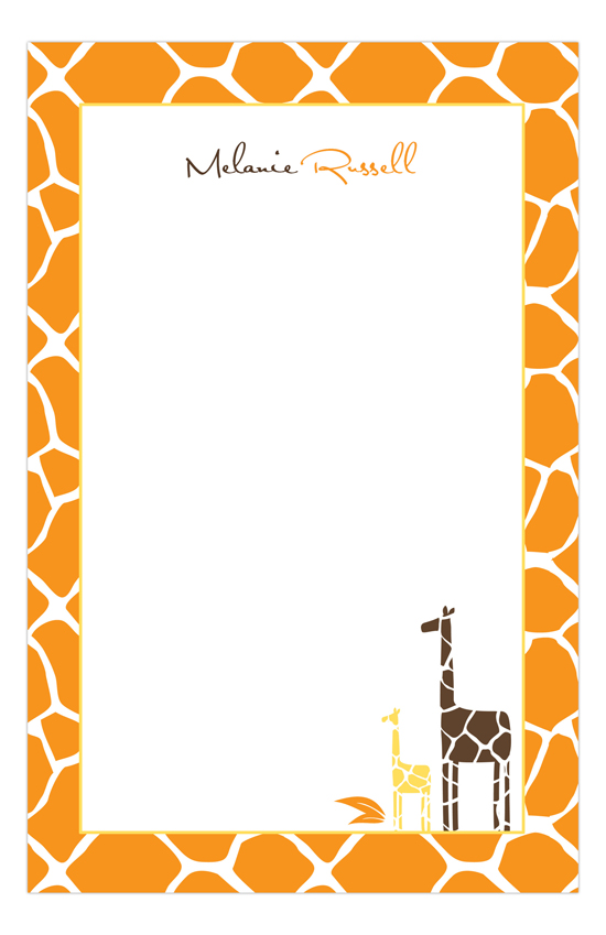 Orange Mod Giraffe Neutral Notepad