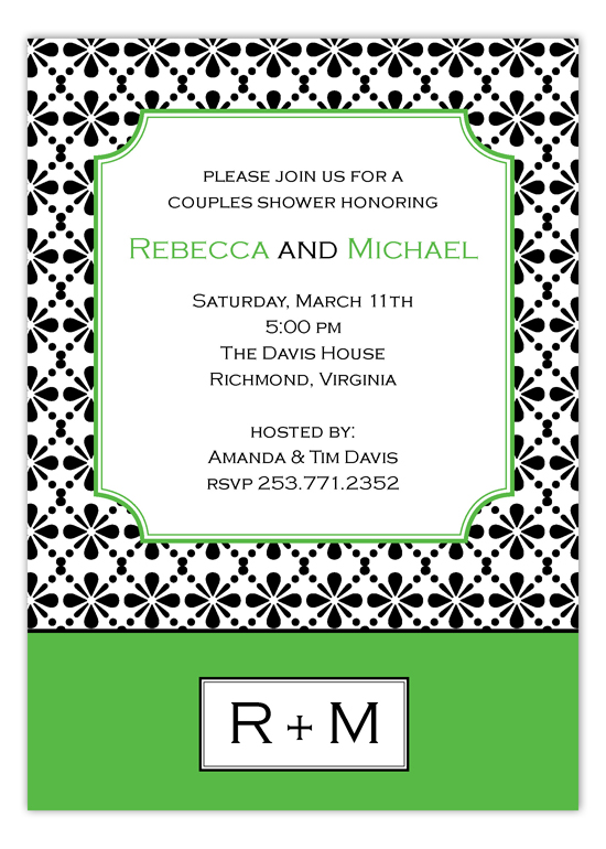 Mod Green Floral Connection Invitation