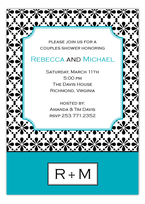 Mod Turquoise Floral Connection Couples Shower Invitation