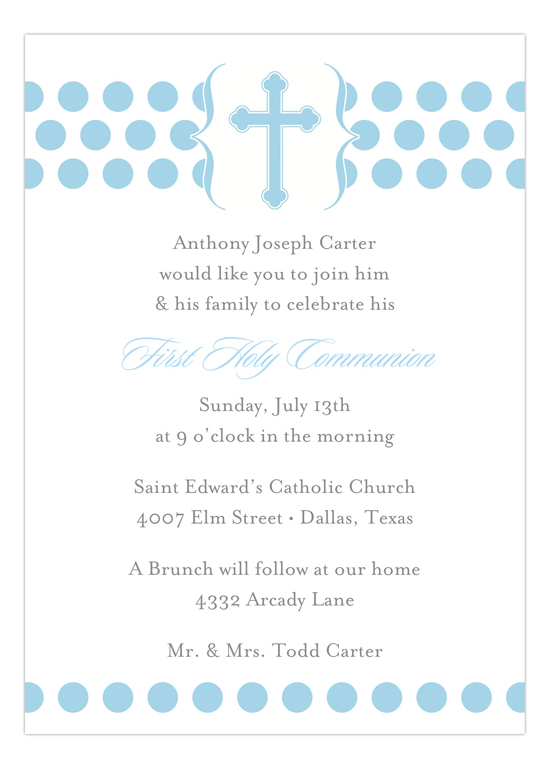 Modern Christening Blue Invitation