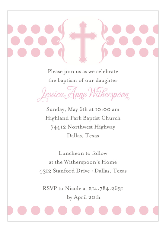 Modern Christening Pink Invitation