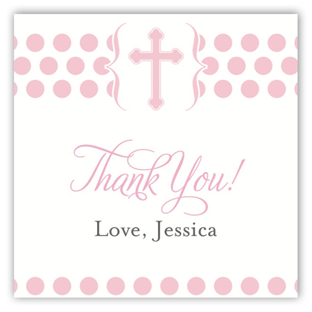 Modern Chrisining Pink Square Sticker
