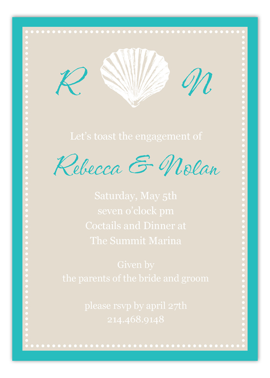 Monogram Seashell Invitation