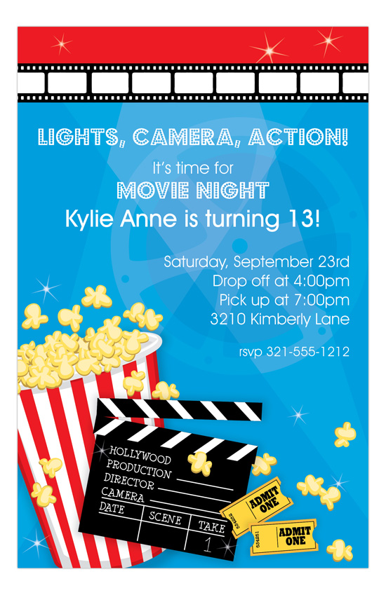 movie night invitation polka dot design
