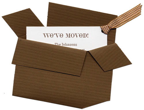 moving box invitation new home announcements