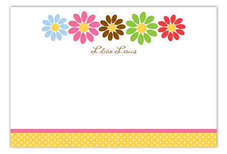 Multi Daisy Flat Note Card