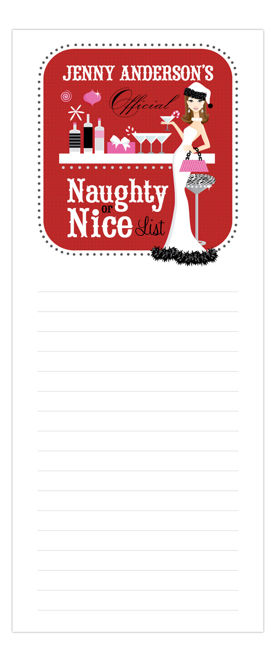 Naughty or Nice Brunette Notepad