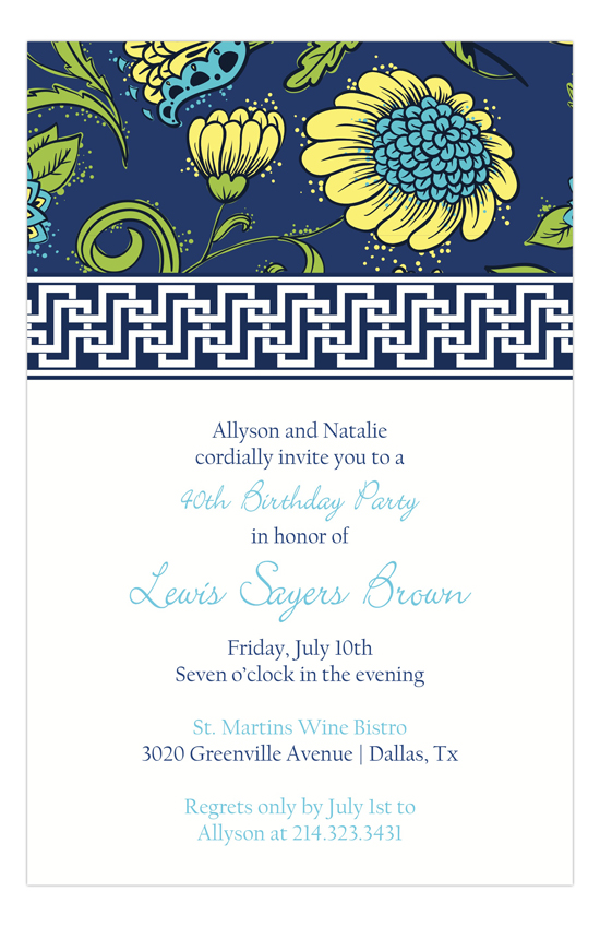 Navy Butter China Floral Invitation