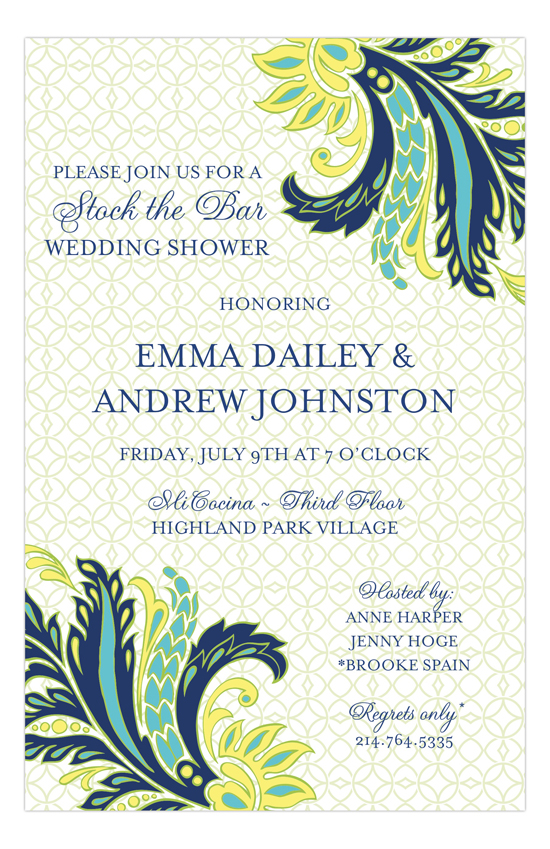 Navy Butter Paisley Invitation