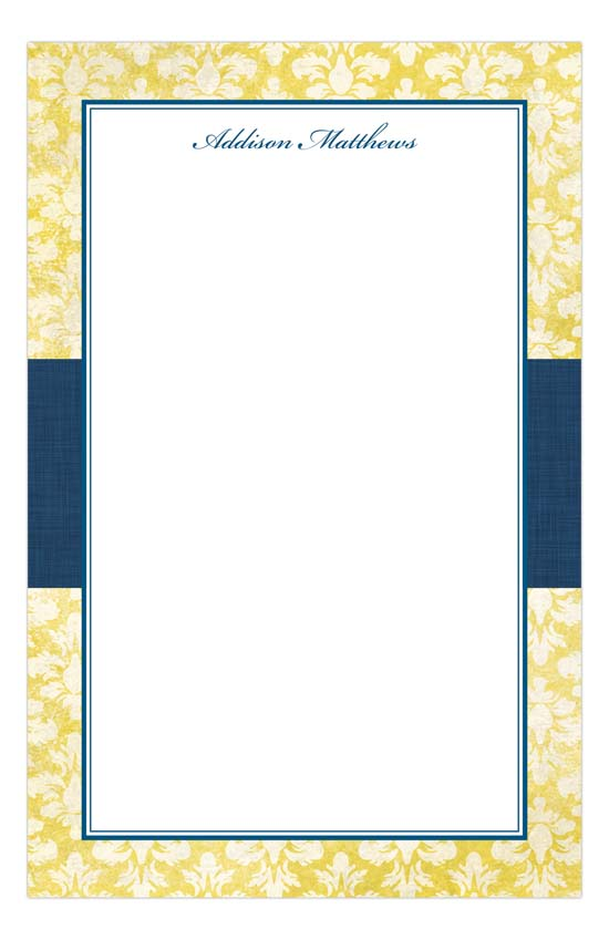 Navy Damask Cloth Notepad