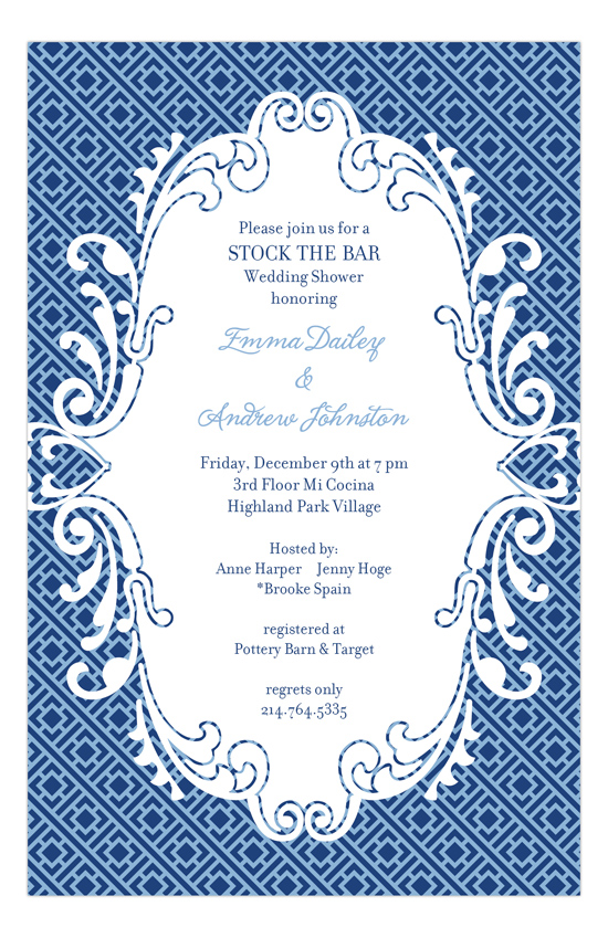 Navy Light Blue Greek Key Invitation