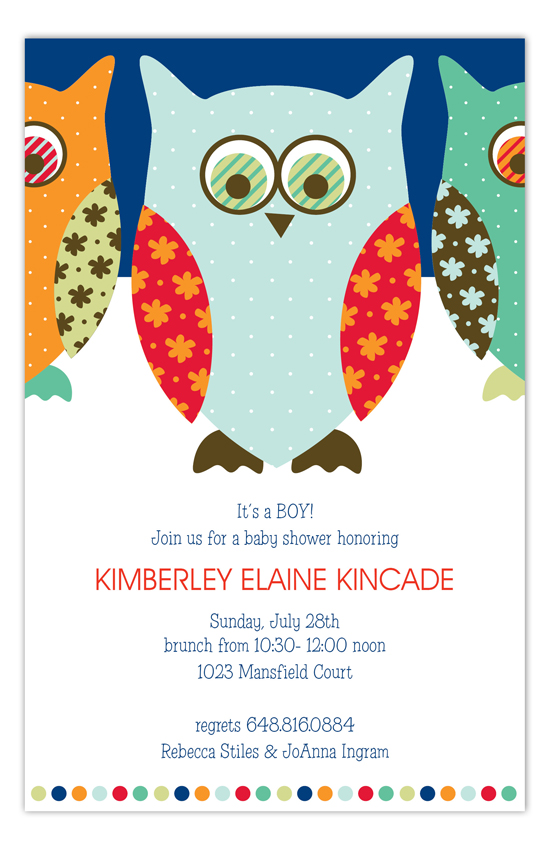 Navy Pattern Owls Invitation