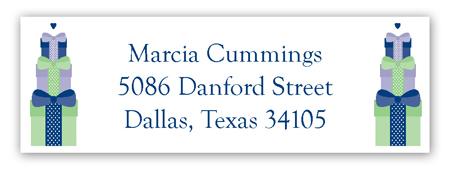 Navy Stacked Presents Address Label