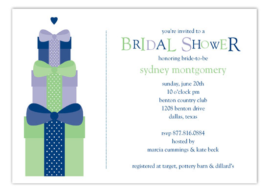 Navy Stacked Presents Invitation