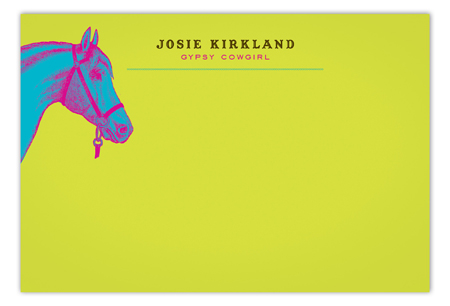 Neon Horse Flat Note Card
