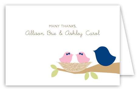 Nested Twin Girls Folded Note Card