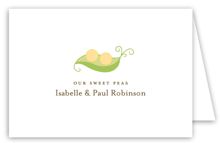 Neutral Twin Peapod Folded Note Card
