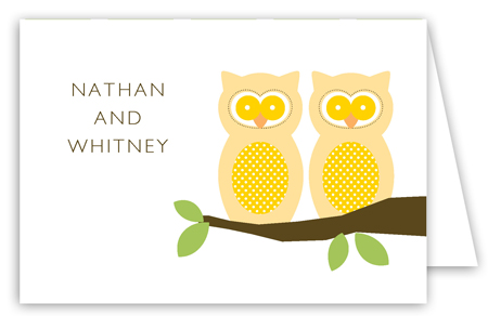 Neutral Twin Perched Owls Folded Note Card