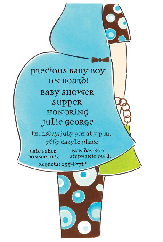 New Baby Boy on Board Die-cut Invitation