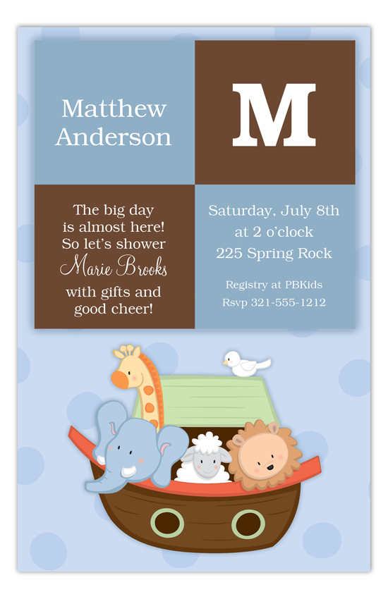 Boy Squares Noahs Ark Baby Shower Invitations PolkaDotDesigncom